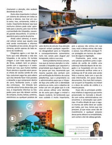 Page 21 of SEGURANÇA: UMA PALAVRA QUE NÃO PODE SER IGNORADA NO MERCADO DE VACATION HOMES