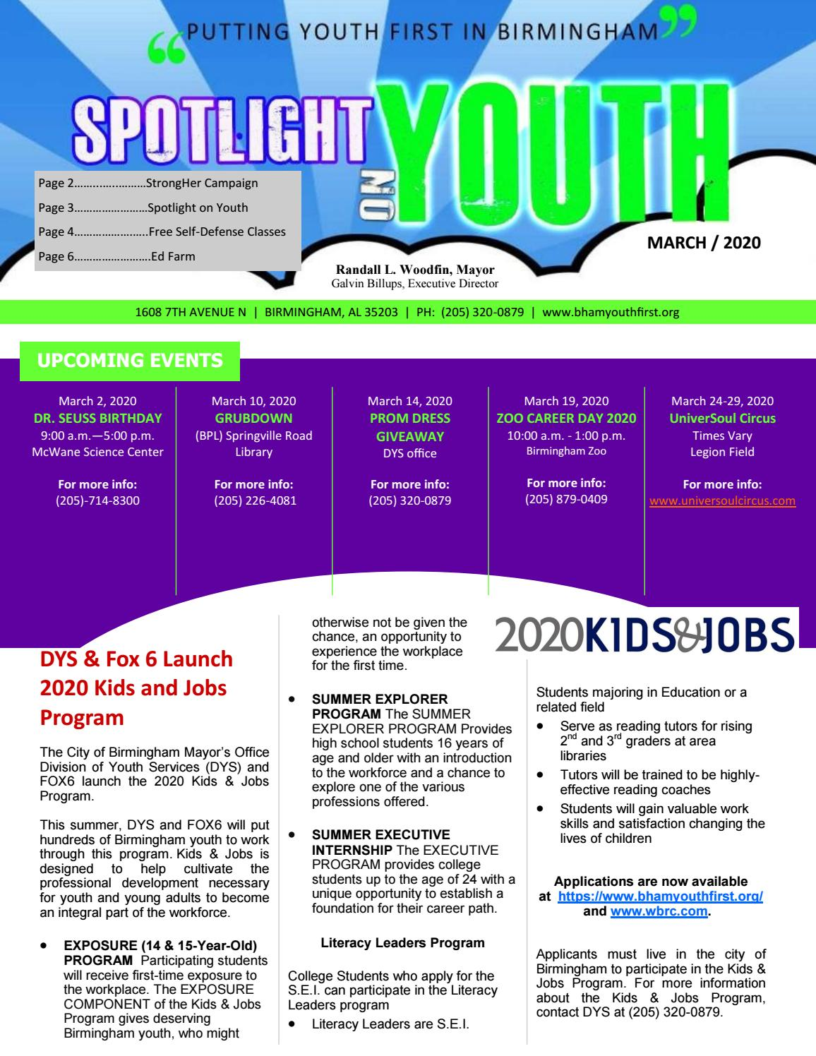 Spotlight On Youth March 2020 By City Of Birmingham Mayor S Office Division Of Youth Services Issuu