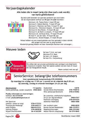 Page 26 of Verjaardagskalender Nieuwe leden SeniorService: belangrijke telefoonnummers