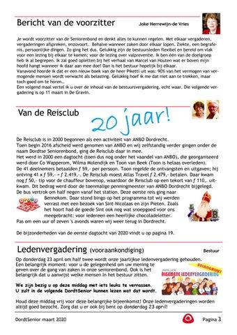 Page 5 of Joke Herrewijn de Vries: Bericht van de voorzitter Van de Reisclub: 20 jaar geleden Bestuur: Ledenvergadering (vooraankondiging