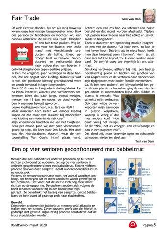 Page 7 of Toni van Dam: Fair Trade Een op vier senioren geconfronteerd met babbeltruc