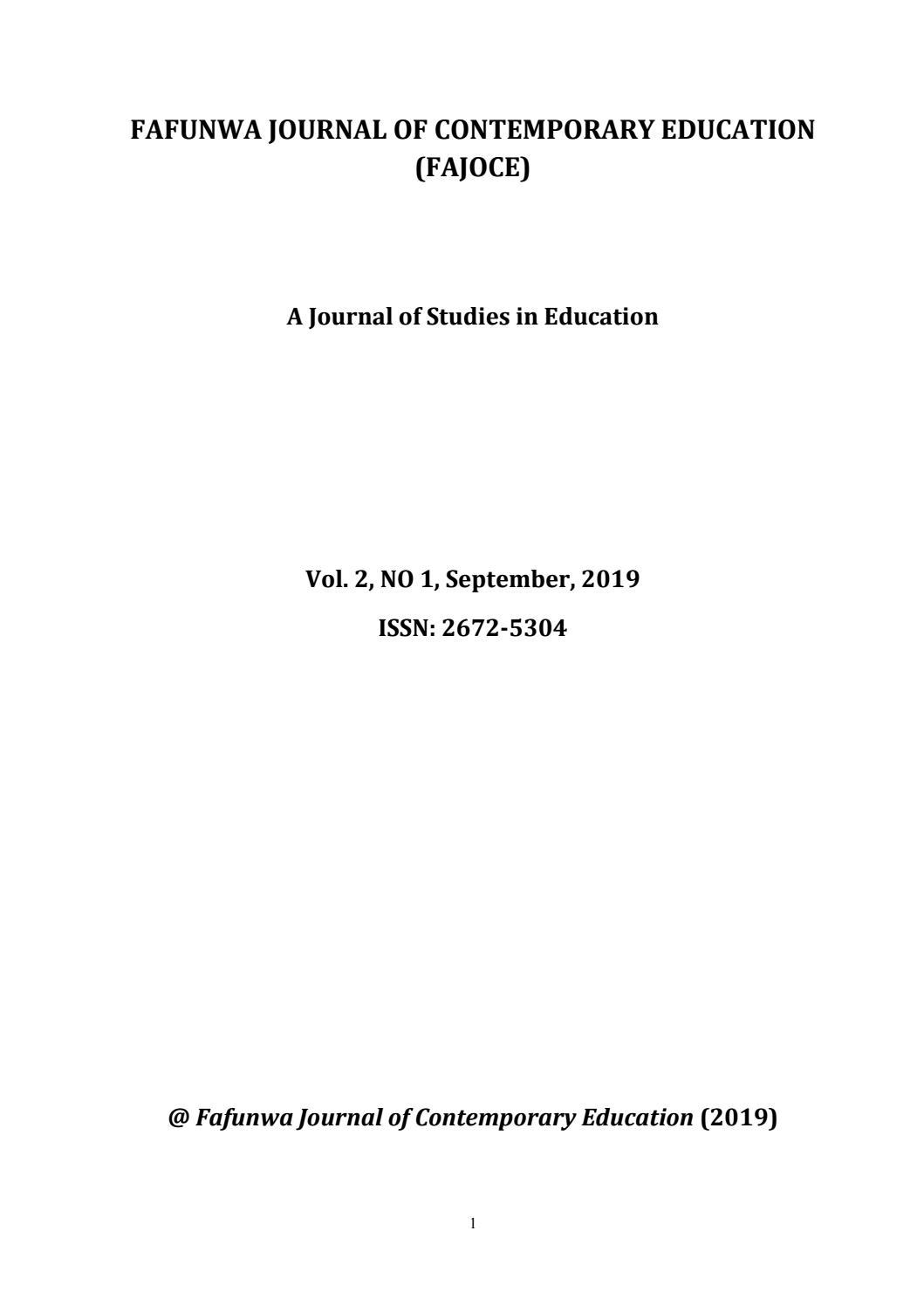 Fafunwa Journal Of Contemporary Education Fajoce By Cloudspheretech Issuu