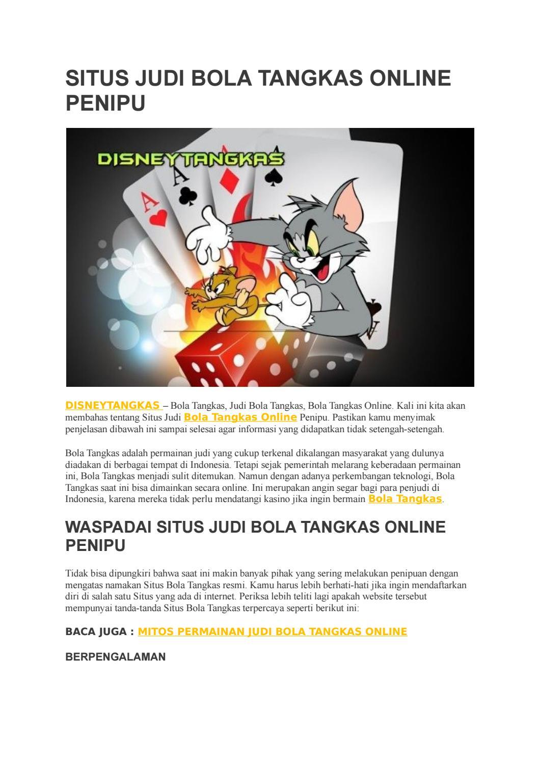 Situs Judi Bola Tangkas Online Penipu By Disneytangkas Issuu