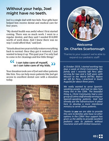 Page 3 of Welcome Dr. Charles Scarborough