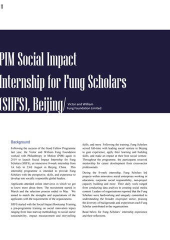 Page 15 of PIM Social Impact Internship for Fung Scholars (SIIFS), Beijing