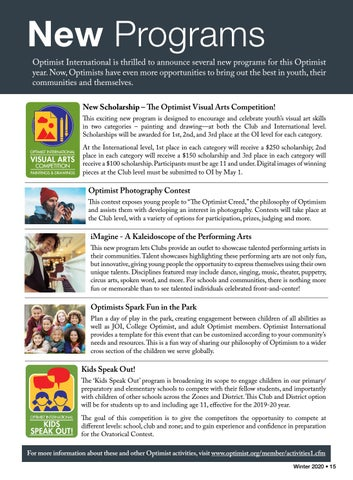 Page 17 of New Programs: Arts competitions, photography and more