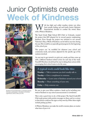 Page 23 of Junior Optimists create a Week of Kindness
