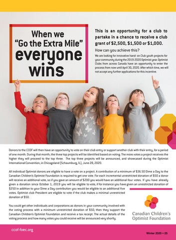 Page 27 of Go the extra mile for the Canadian Children's Optimist Foundation