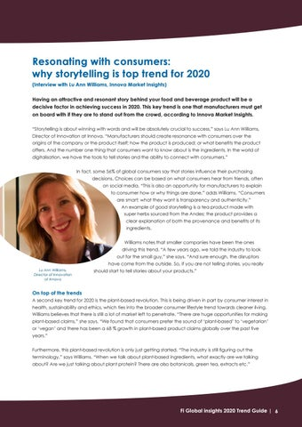 Page 6 of Resonating with consumers: why storytelling is top trend for 2020 (interview with Lu Ann Williams, Innova Market Insights