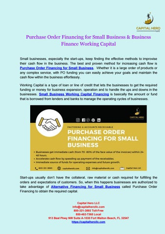 Purchase Order Financing For Small Business Business Finance Working Capital By Capital Hero Llc Issuu