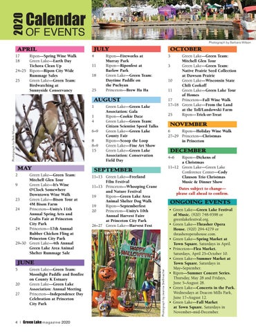 Page 4 of Calendar of Events 2020