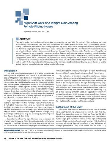 Page 14 of Night Shift Work and Weight Gain Among Female Filipino Nurses by Raymundo Apellido, PhD, RN, CCRN