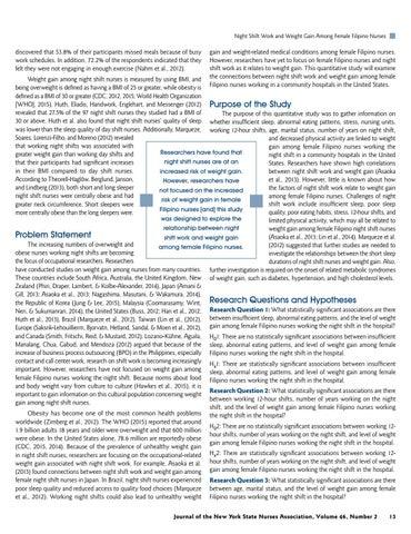 Page 15 of Night Shift Work and Weight Gain Among Female Filipino Nurses by Raymundo Apellido, PhD, RN, CCRN