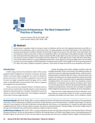 Page 28 of Nurse Entrepreneurs: The Real Independent Practice of Nursing by Carol Lynn Esposito, EdD, JD, MS, RN-BC, NPD; Lucille Contreras Sollazzo, BSN, RN-BC, NPD