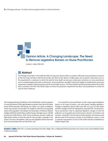 Page 42 of Opinion Article: A Changing Landscape: The Need to Remove Legislative Barriers on Nurse Practitioners by Cynthia S. Miller, BSN, RN