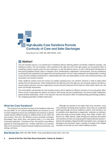 Page 6 of High-Quality Care Transitions Promote Continuity of Care and Safer Discharges by Dana Deravin Carr, DrPH, MS, MPH, RN-BC, CCM