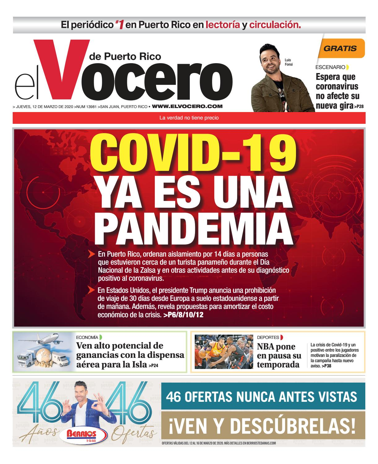 Amables Antes La Vecina edición del 12 de marzo de 2020el vocero de puerto rico