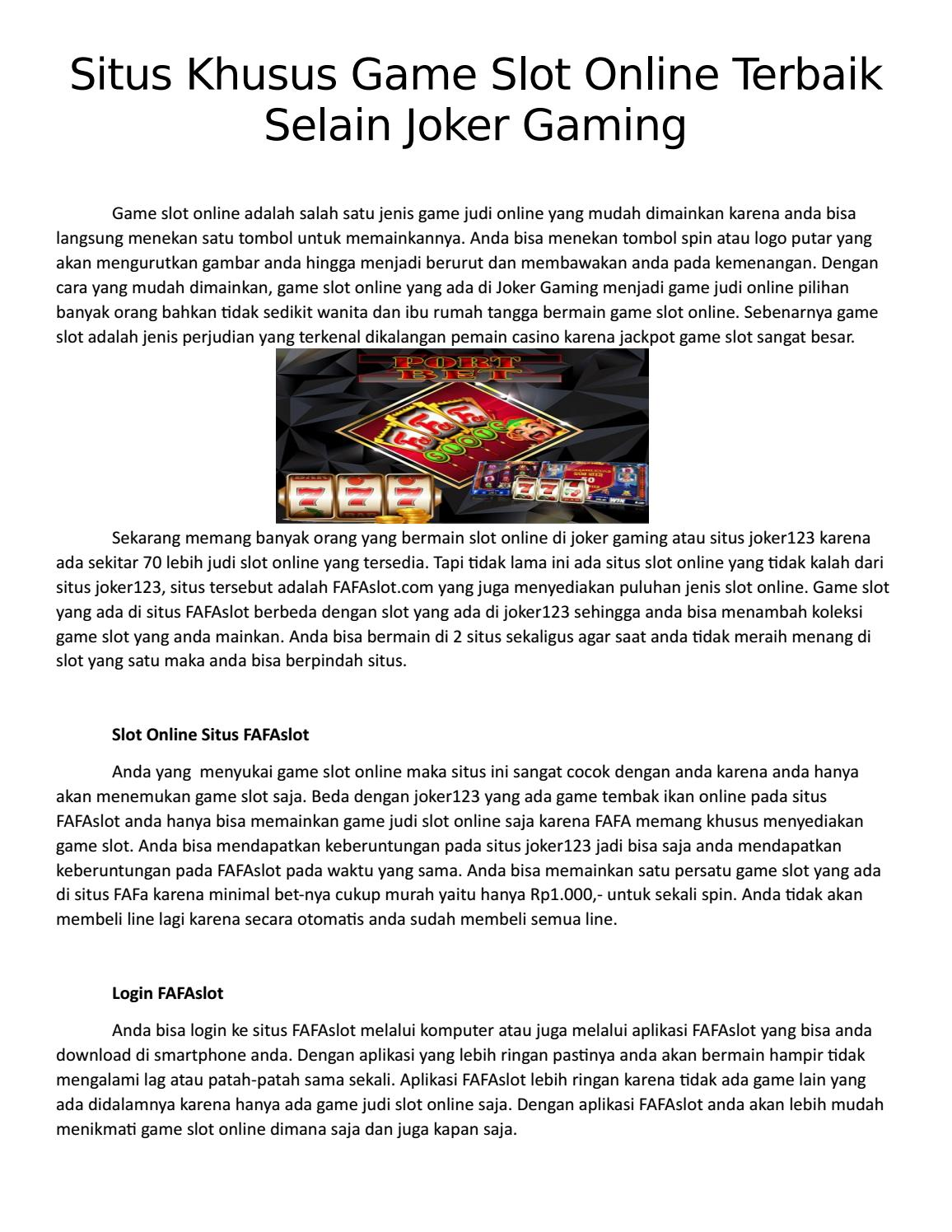 Situs Slot Paling Tekemuka Di Masa Kini Joker123 Fafaslot Habanero By Mayat Malam303 Issuu