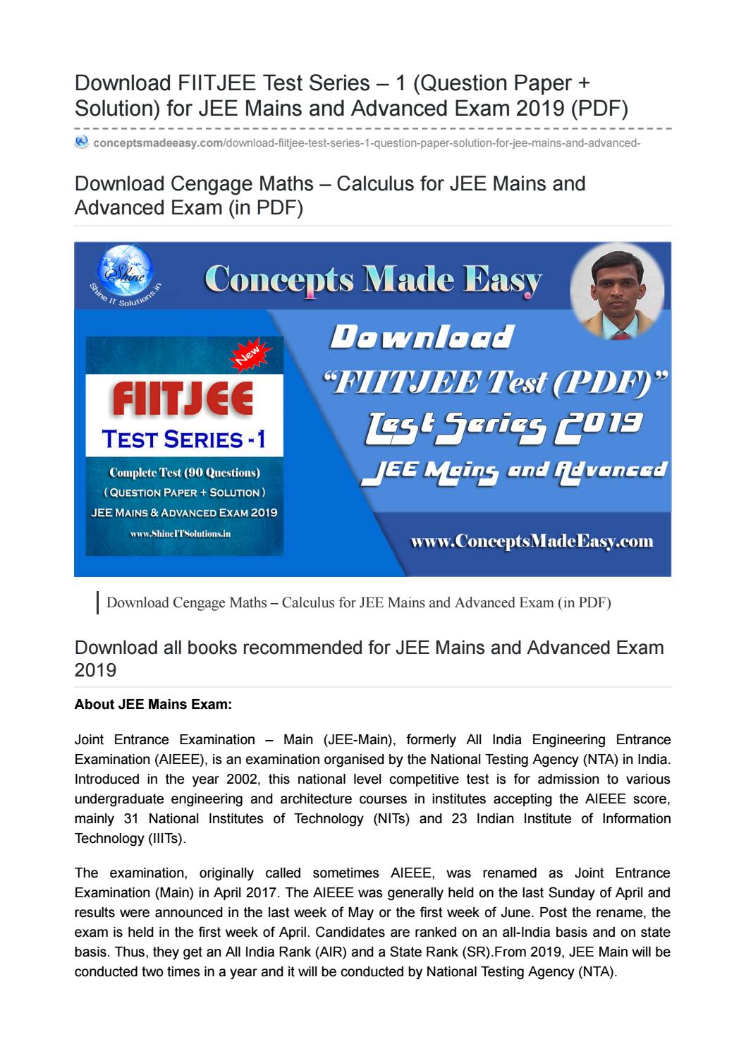 Download Fiitjee Test Series Question Paper Solution For Jee Mains And Advanced Exam 2019 Pdf By Concepts Made Easy By Er Ajay Kumar Issuu