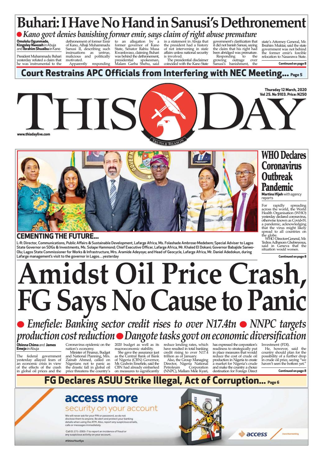 Thursday 12th March 2020 By Thisday Newspapers Ltd Issuu