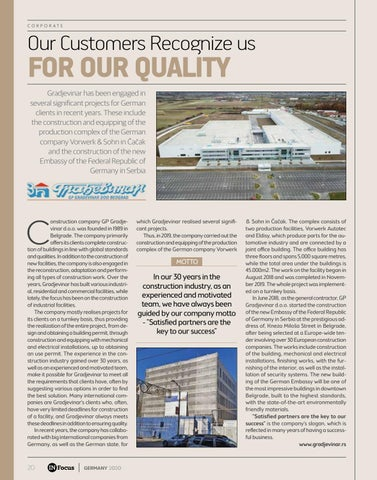 Page 20 of OUR CUSTOMERS RECOGNIZE US FOR OUR QUALITY