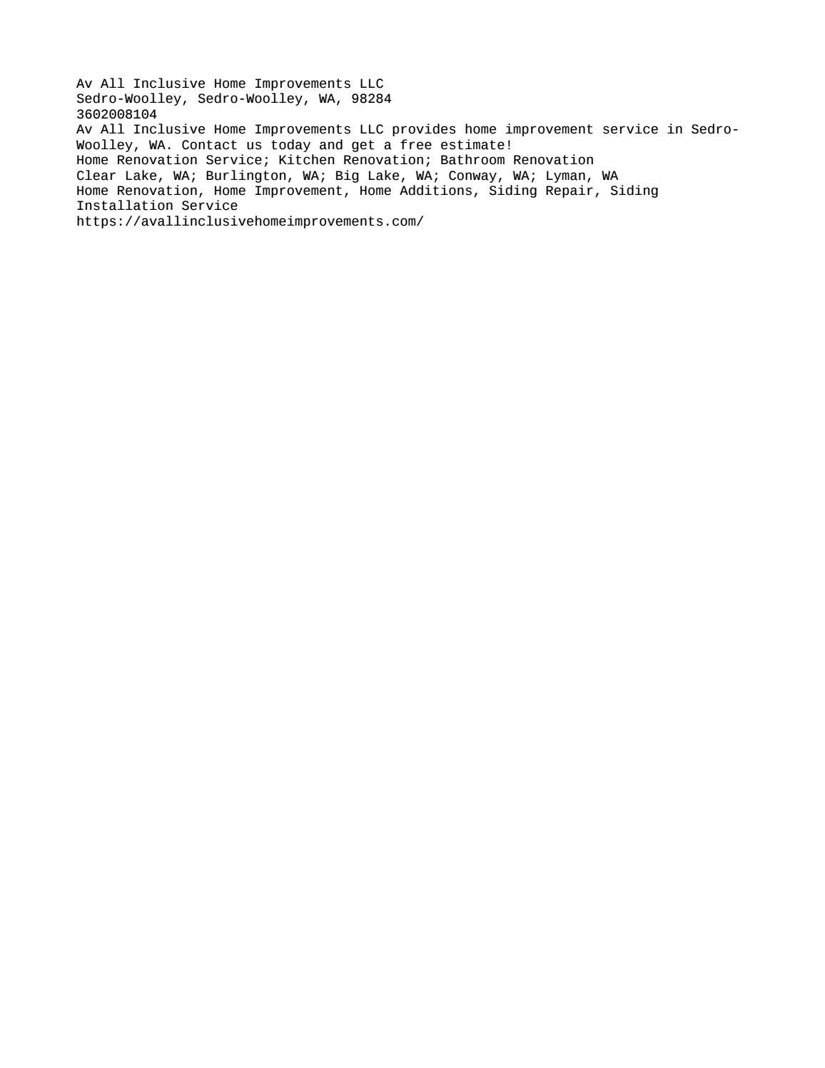 Av All Inclusive Home Improvements Llc 3602008104 By Laymoris23 Issuu