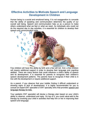 Activities For Speech And Language Development In Children By Vikram Ent Hospital Issuu