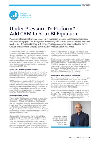 Page 25 of Under Pressure To Perform? Add CRM to Your BI Equation