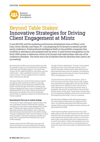 Page 30 of Beyond Table Stakes: Innovative Strategies for Driving Client Engagement at Mintz