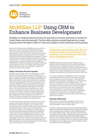 Page 36 of McMillan LLP: Using CRM to Enhance Business Development