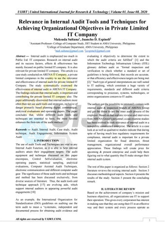 Relevance In Internal Audit Tools And Techniques For Achieving Organizational Objectives In Private By Uijrt United International Journal For Research Technology Issuu