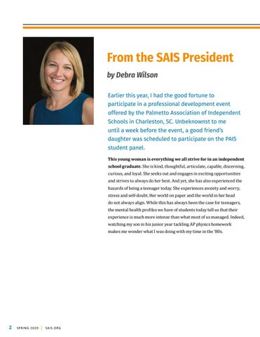 Page 4 of From the SAIS President by Debra Wilson
