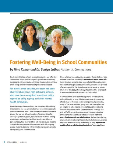 Page 8 of Fostering Well-Being in School Communities by Nina Kumar and Dr. Suniya Luthar