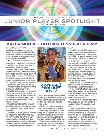 Page 23 of Junior Player Spotlight: Kayla Moore, Gotham Tennis Academy