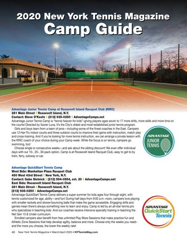 Page 42 of 2020 New York Tennis Magazine Camp Guide