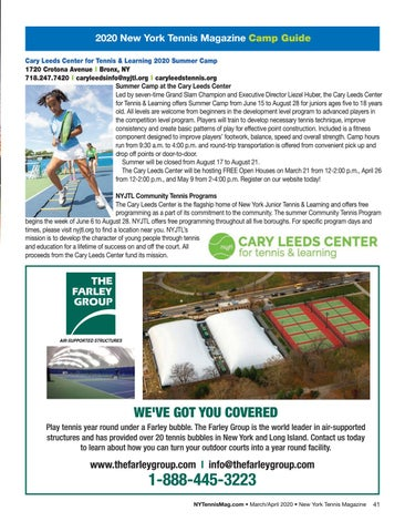 Page 43 of 2020 New York Tennis Magazine Camp Guide