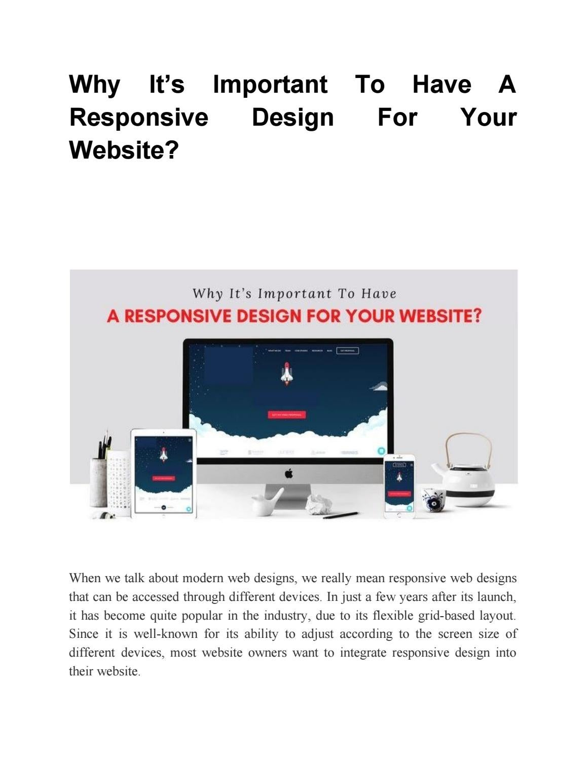 Why It S Important To Have A Responsive Design For Your Website By Davismiketech Issuu