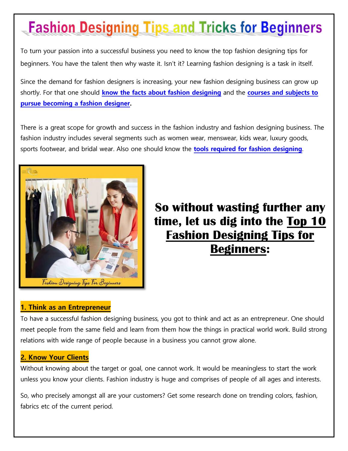 Top 10 Fashion Designing Tips For Beginners Admissions Open By Gurukulintitution Issuu