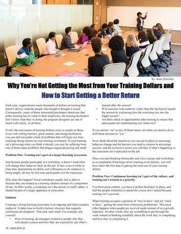Page 16 of Why You're Not Getting the Most From Your Training Dollars