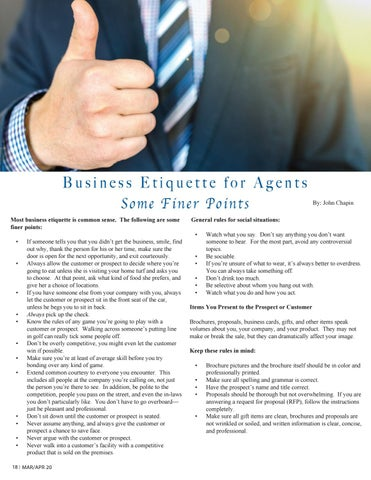 Page 18 of Business Etiquette for Agents
