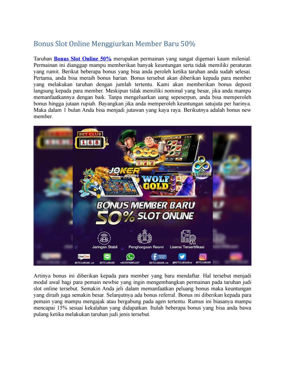 Bonus Slot Online Menggiurkan Member Baru 50 By Abel Tiara Issuu