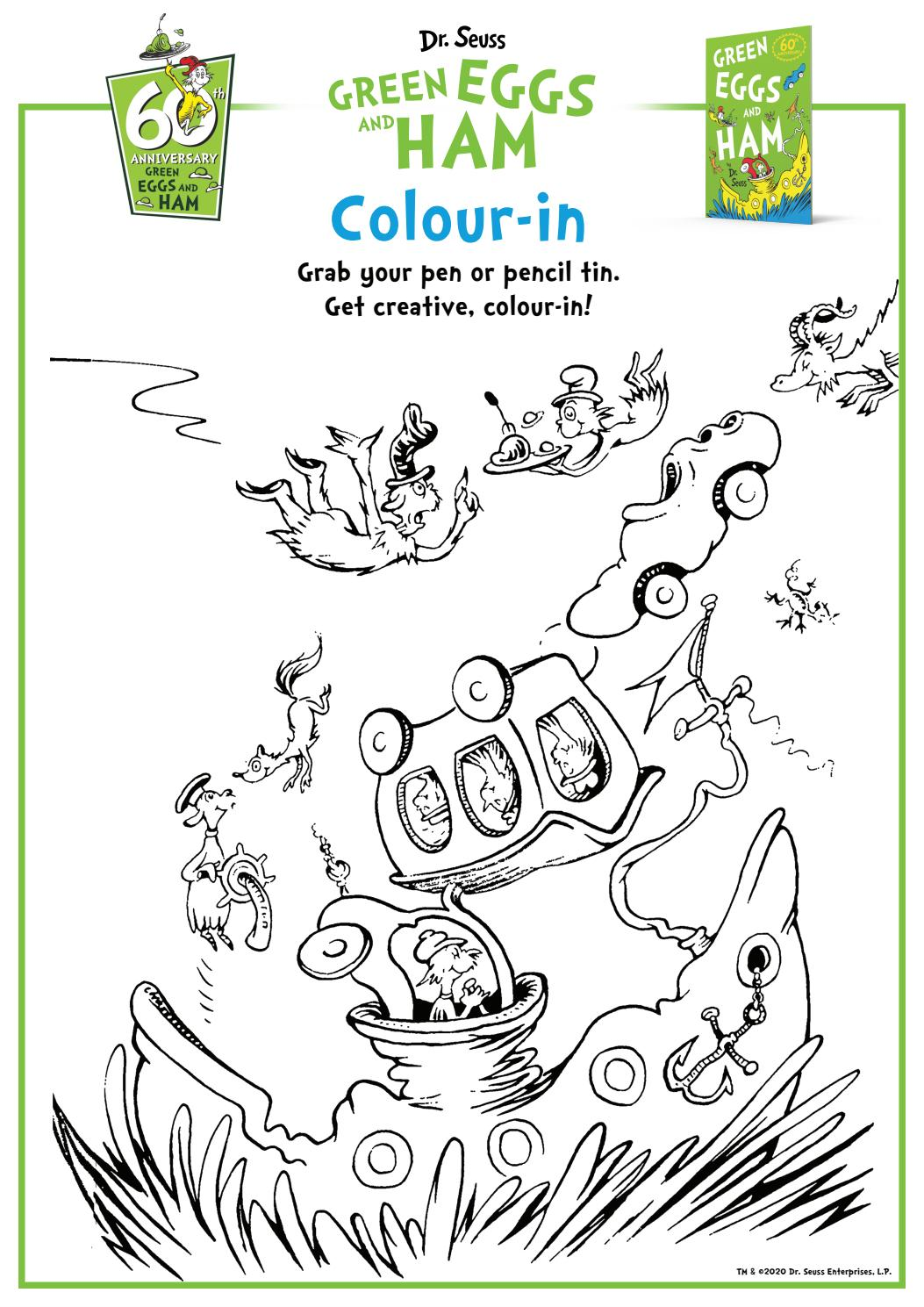 Green Eggs And Ham By Dr Seuss Colouring In By Harpercollinschildrens Issuu