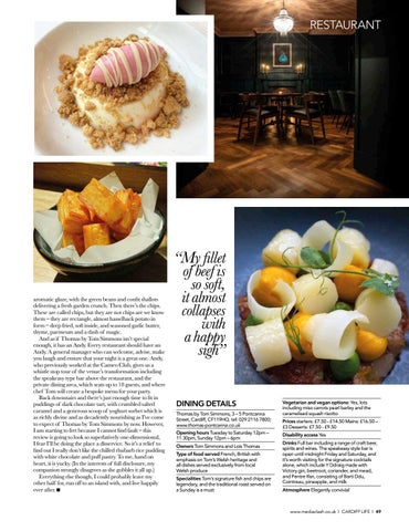Page 49 of RESTAURANT Our reviewer visits Tom Simmons' new Pontcanna venture