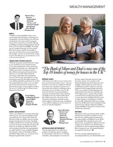 Page 63 of interviews with the region's professionals WEALTH MANAGEMENT Financial planning advice for key stages of life