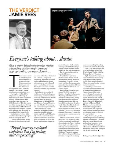 Page 67 of THE VERDICT Welcome, new theatre columnist Jamie Rees