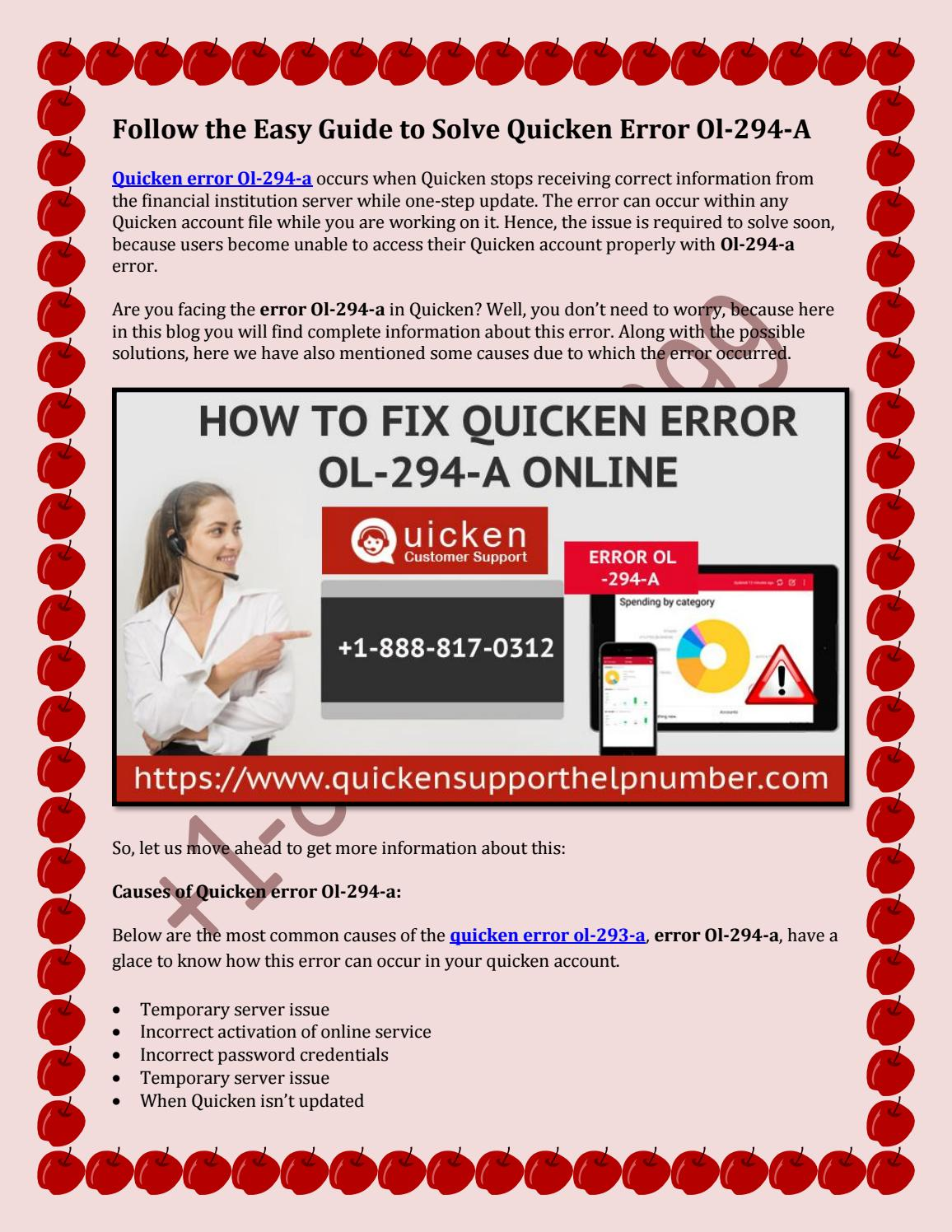 Follow the Easy Guide to Solve Quicken Error Ol-294-A by Norahbailey - issuu