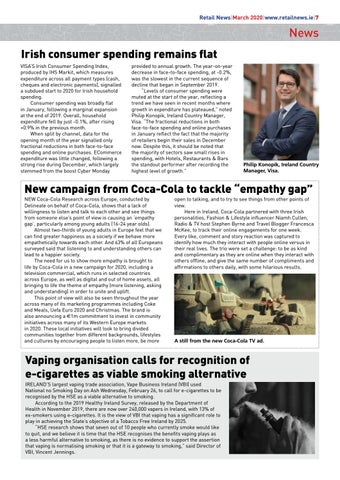 """Page 9 of Irish consumer spending remains flat; New campaign from Coca-Cola to tackle """"empathy gap""""; Vaping organisation calls for recognition of e-cigarettes as viable smoking alternative"""