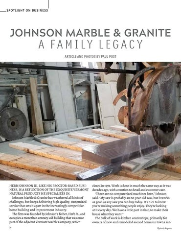 Page 78 of Spotlight on Business Johnson Marble & Granite A Family Legacy Paul Post