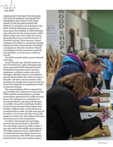 Page 88 of All About the Arts The MINT Rutland's Makerspace Sandra Stillman Gartner