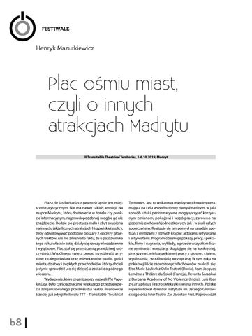 Page 70 of Henryk Mazurkiewicz Plac ośmiu miast, czyli o innych atrakcjach Madrytu [III Transitable Theatrical Territories, Madryt